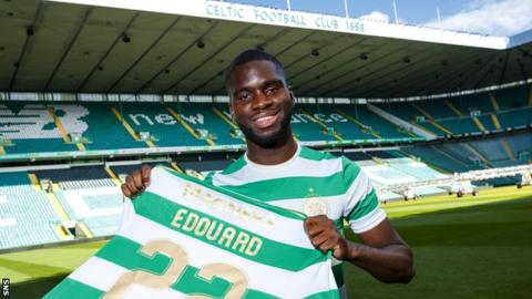 PSG's Odsonne Edouard with his Celtic strip