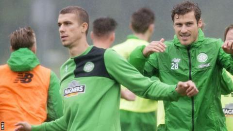 Jozo Simunovic (left) in training with Celtic