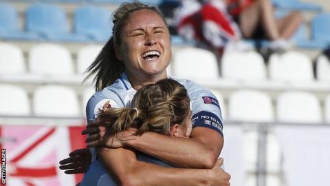 Steph Houghton celebrates a goal for England