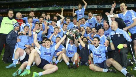 The party begins for the Moy players after they defeated Roscommon side Michael Glavey's in the All-Ireland Intermediate Club final