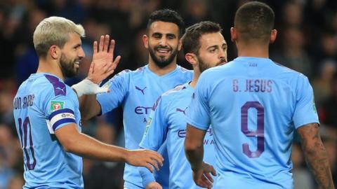 ผลการค้นหารูปภาพสำหรับ Man City 3-1 Southampton: Sergio Aguero steers holders through to Carabao Cup quarter-finals