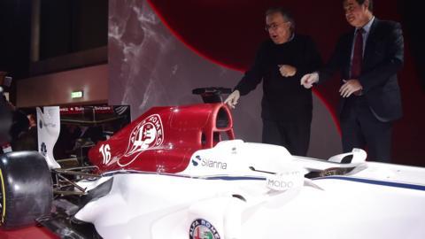 Pascal Picci and Sergio Marchionne unveil the new Alfa Romeo Sauber Formula One Team car
