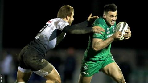 Giulio Bisegni attempts to catch Cian Kelleher during Zebre's win at the Sportsground