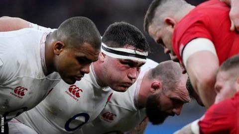 Jamie George scrums down against Wales during the Six Nations