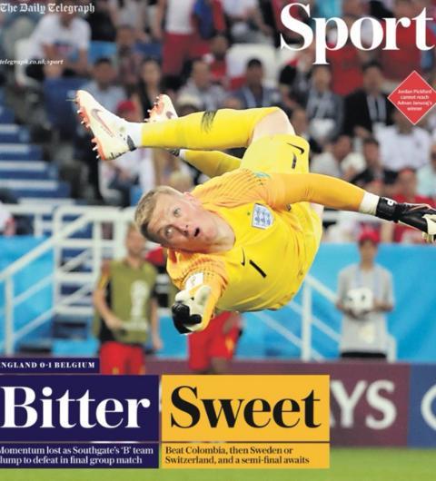 The Daily Telegraph carries an image of Jordan Pickford being beaten for Belgium's winner