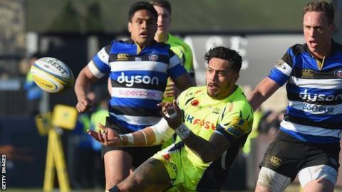 Denny Solomona makes a pass for Sale against Bath