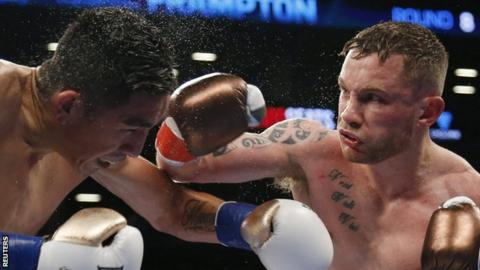 Carl Frampton landes a right on WBA featherweight champion Leo Santa Cruz in New York