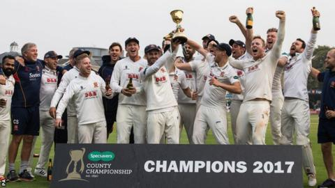 Essex celebrate with the County Championship cup