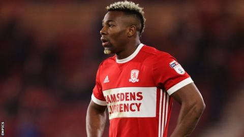 Adama Traore looks on during Middlesbrough's game at Fulham