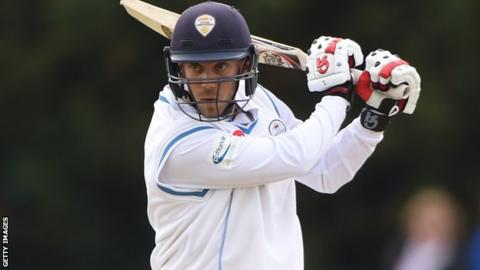 Alex Hughes in action for Derbyshire