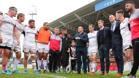 Rory Best addresses the Ulster players after they ended the season with a crucial win over Ospreys