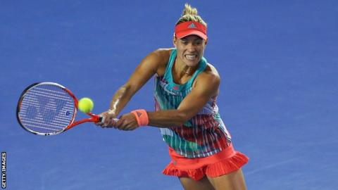 Angelique Kerber plays a backhand