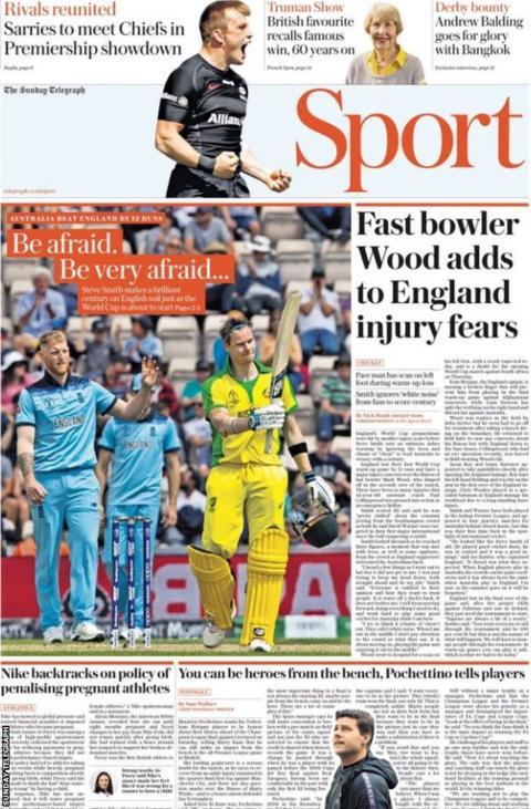 Sunday Telegraph main sport page