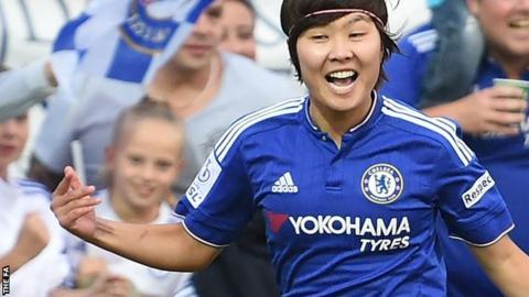 Ji So-Yun celebrates scoring for Chelsea Ladies