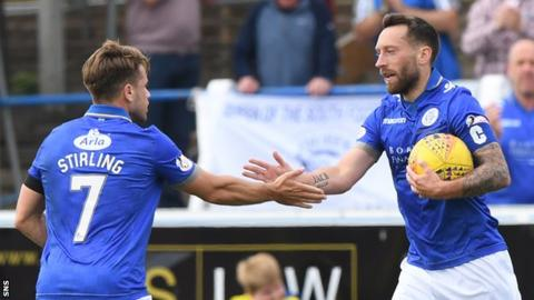 Queen of the South's Stephen Dobbie (right) celebrates one of his 24 goals this season