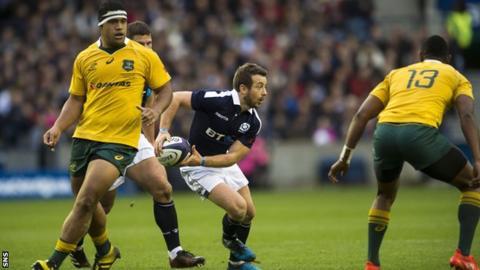 Greig Laidlaw playing for Scotland against Australia