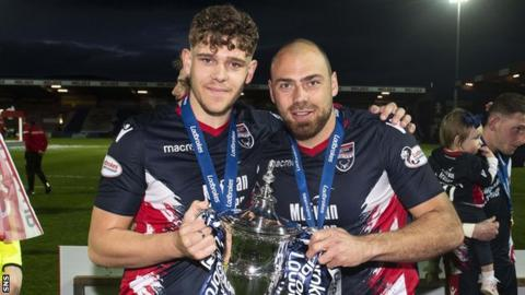 Kenny van der Weg (right) helped Ross County secure Championship glory last season