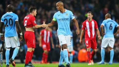 Manchester City captain Vincent Kompany (centre) came on
