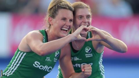 Ireland's Nikki Evans and Katie Mullan
