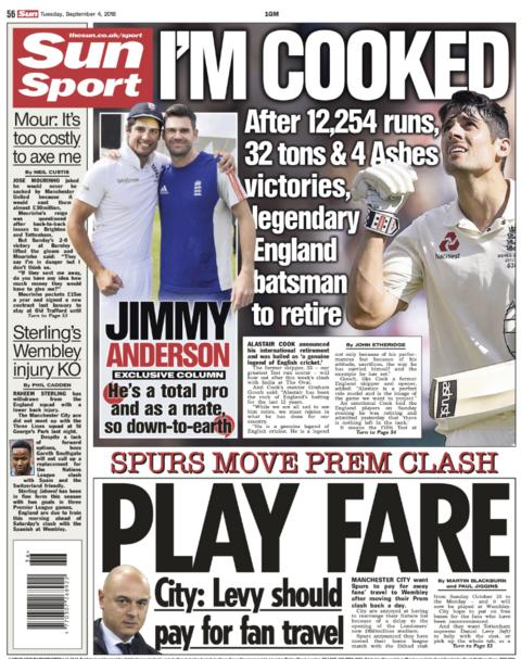 Sun back page on Tuesday