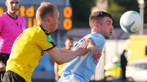Bui Egilsson of NSI Runavik and new Ballymena signing Declan Carville in action at the Showgrounds