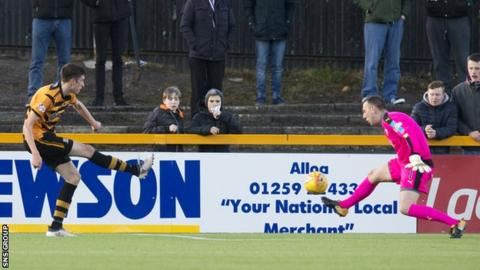 Ross Stewart shoots Alloa into a half-time lead at home to Raith Rovers
