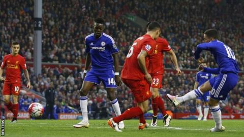 Eden Hazard scores for Chelsea against Liverpool