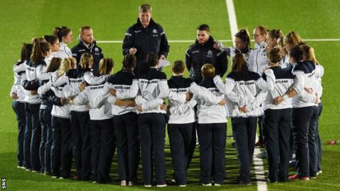 Scotland Women rugby team in a huddle