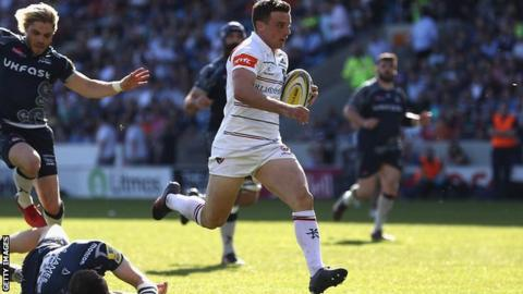 George Ford runs in a try for Leicester
