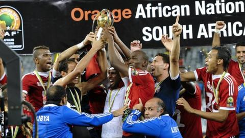 Libya celebrate winning the 2014 African Nations Championship