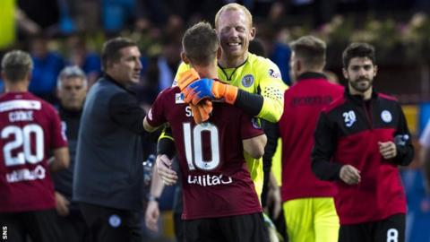 St Mirren's Craig Samson and Cammy Smith embrace