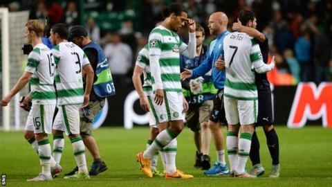 Celtic players after beating Malmo 3-2