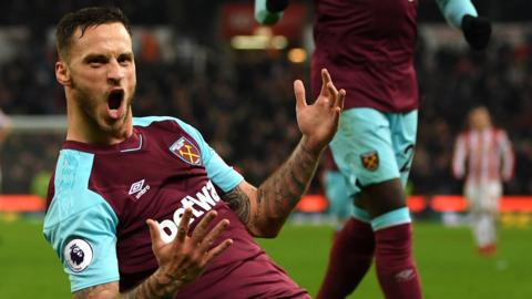 Marko Arnautovic celebrates his goal