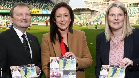 IFA President, David Martin, Nadine Kessler, Head of Women's Football at UEFA and Gail Redmond, IFA Women's Domestic Football Manager