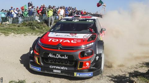 Kris Meeke produces a dust trail on Saturday before his crash in Portugal