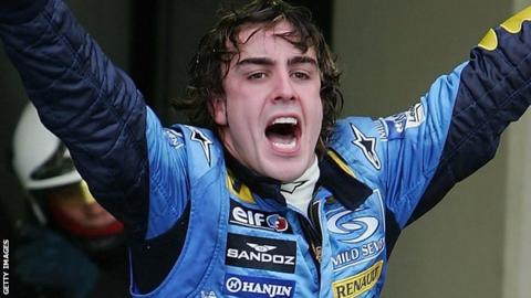 Fernando Alonso wins the F1 championship in 2005