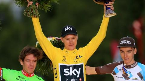 Chris Froome on the podium after winning the 2017 Tour de France