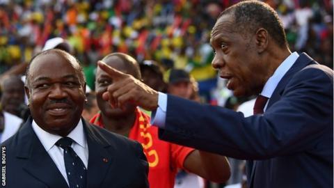 Gabon president Ali Bongo and Caf president Issa Hayatou