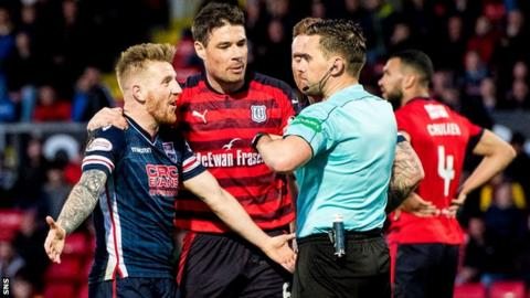 Ross County's Michael Gardyne argues with referee Andrew Dallas after being shown a yellow card for simulation