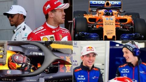 Lewis Hamilton and Sebastian Vettel, McLaren, Red Bull, Pierre Gasly and Brendon Hartley