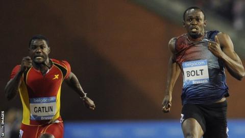 Justin Gatlin (left) and Usain Bolt
