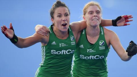 Captain Katie Mullan (right) and Anna O'Flanagan helped Ireland's women win a surprise silver medal at last year's World Cup in London