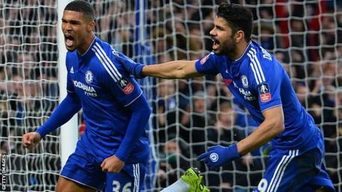 Chelsea midfielder Ruben Loftus-Cheek celebrates scoring with team-mate Diego Costa