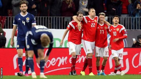Russia celebrate a goal by Alexandr Golovin against Scotland