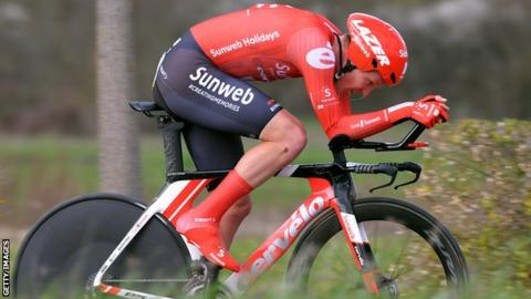 Soren Kragh Andersen competes in the time trial on stage four of Paris-Nice
