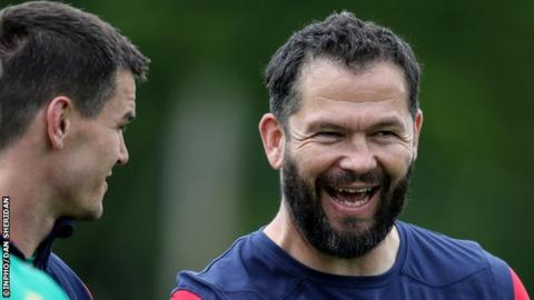 Lions defence coach Andy Farrell shares a joke with fly-half Johnny Sexton