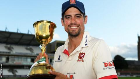 Essex opener Sir Alastair Cook with the County Championship trophy