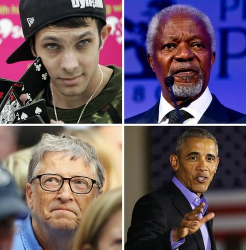 Clockwise from left: Dynamo the magician; Kofi Annan, Barack Obama and Bill Gates