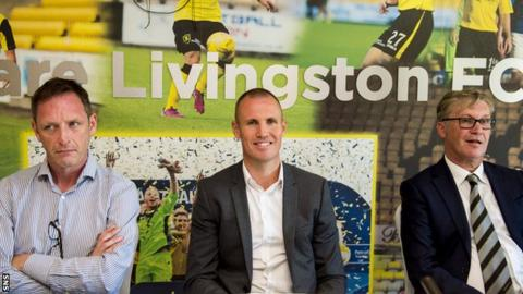 Livingston chief executive officer John Ward (left) and chairman Robert Martin (right) flank Kenny Miller after his unveiling as player-manager