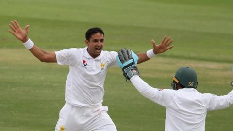 Mohammed Abba celebrating a wicket